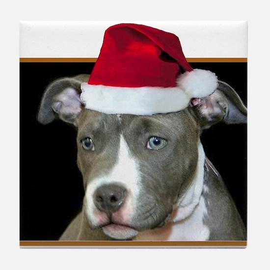 Christmas Pitbull Pup Tile Coaster