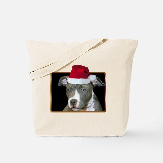 Christmas Pitbull Pup Tote Bag