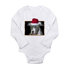 Christmas Pitbull Pup Long Sleeve Infant Bodysuit