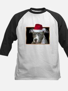 Christmas Pitbull Pup Kids Baseball Jersey