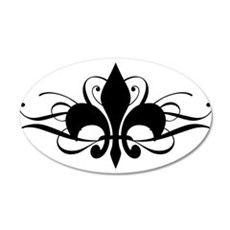 Fleur De Lis with Swirls 20x12 Oval Wall Peel