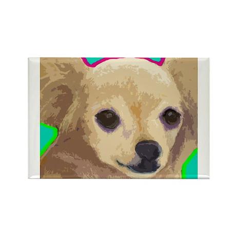 Long Hair Chihuahua Rectangle Magnet
