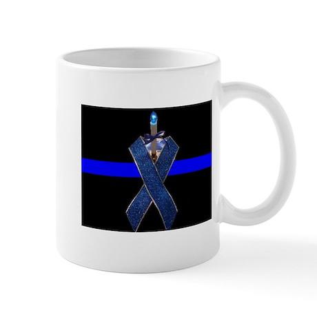 Officer Down blue line ribbon Mug