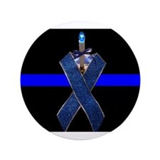 """Officer Down blue line ribbon 3.5"""" Button (100 pac"""