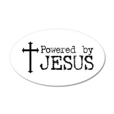 Powered by Jesus with Cross 20x12 Oval Wall Peel