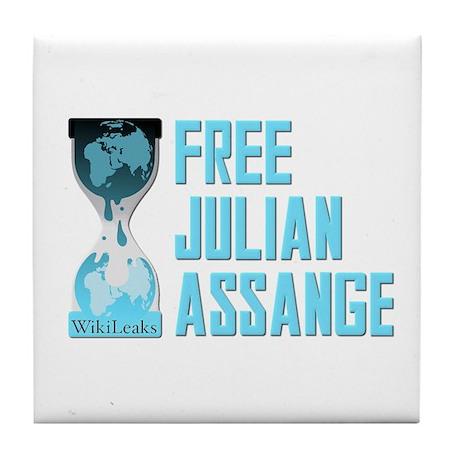 Free Julian Assange Wikileaks Tile Coaster
