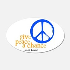 Give Peace a Chance - Blue & Orange Wall Decal