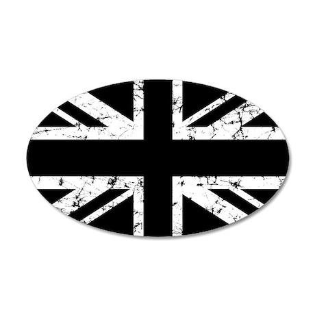 """""""Black Union Jack"""" 35x21 Oval Wall Peel"""