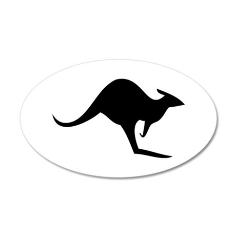 australian kangaroo black log 35x21 Oval Wall Peel