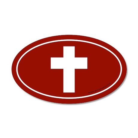 Cross (Crux Immissa) Sticker -Red (Oval)