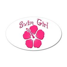Swim Girl - Dark Pink 35x21 Oval Wall Peel