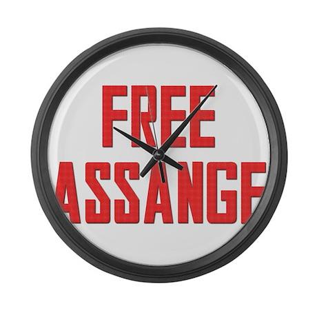 Free Assange Large Wall Clock