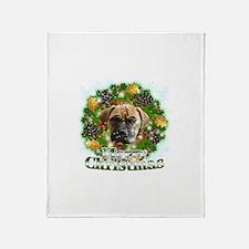 Merry Christmas Bull Mastiff Throw Blanket