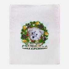 Merry Christmas Schnoodle Throw Blanket