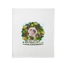 Merry Christmas Bulldog Throw Blanket