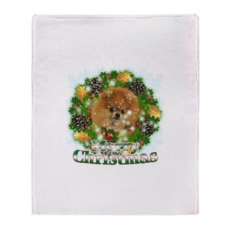Merry Christmas Pomeranian Throw Blanket
