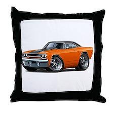 1970 Roadrunner Orange-Black Car Throw Pillow