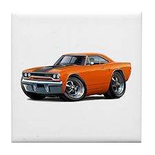 1970 Roadrunner Orange-Black Car Tile Coaster