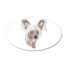 Chinese crested dog 20x12 Oval Wall Peel