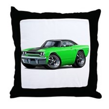 1970 Roadrunner Green-Black Car Throw Pillow