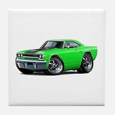 1970 Roadrunner Green-Black Car Tile Coaster