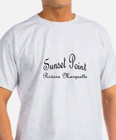 Black Font Sunset Point Riviera Marquette T-Shirt