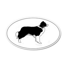 Border Collie Profile 20x12 Oval Wall Peel