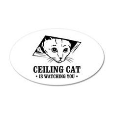 ceiling cat is watching you 35x21 Oval Wall Peel