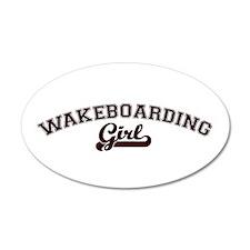 Wakeboarding girl 35x21 Oval Wall Peel