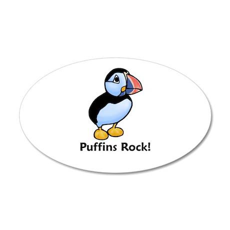 Puffins Rock! 20x12 Oval Wall Peel