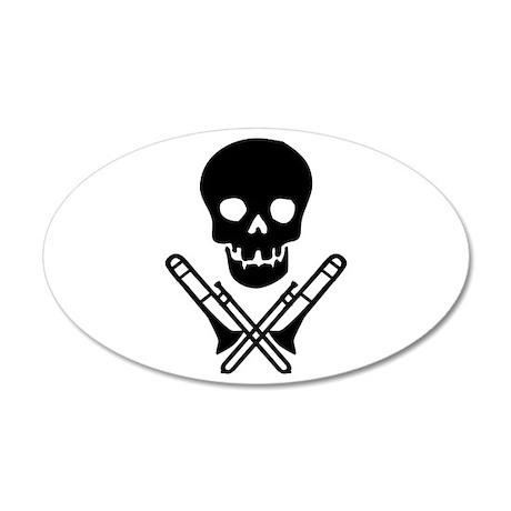 skull & trombones 35x21 Oval Wall Peel