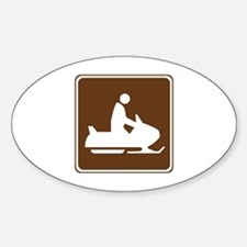 Snowmobiling Sign Sticker (Oval)