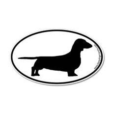Smooth Dachshund SILHOUETTE 20x12 Oval Wall Peel