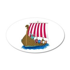 Viking Ship 20x12 Oval Wall Peel