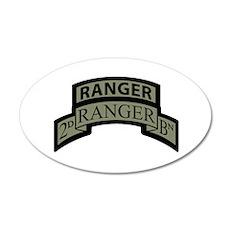 2nd Ranger Bn Scroll/Tab ACU 20x12 Oval Wall Peel