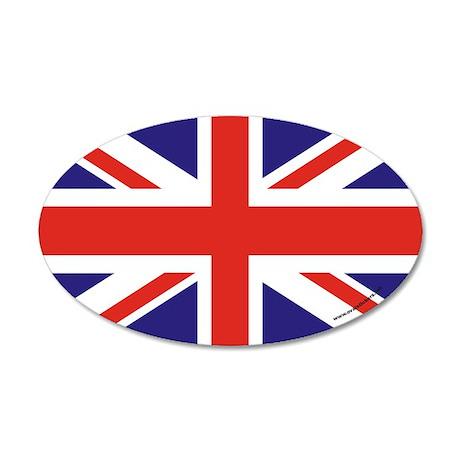 British Flag Euro 35x21 Oval Wall Peel