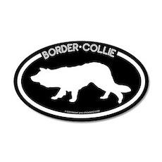 """Border Collie"" Black 20x12 Oval Wall Peel"