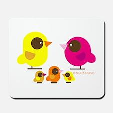 """birds + 3 birdies"" Mousepad"