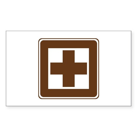 First Aid Sign Sticker (Rectangle 10 pk)