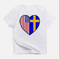 Swedish-American FlagHeartCreeper Infant T-Shirt