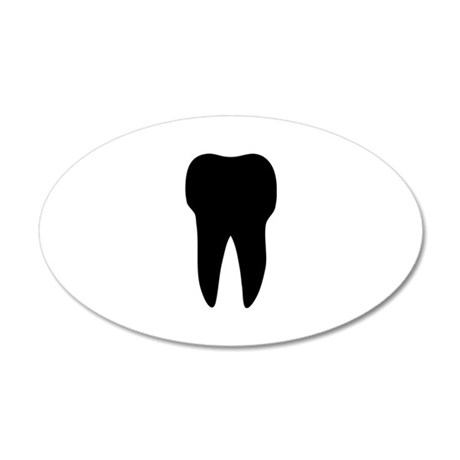black tooth icon dentist 35x21 Oval Wall Peel