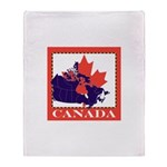 Canada Map with Maple Leaf Ba Throw Blanket