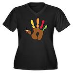 Turkey Hand Women's Plus Size V-Neck Dark T-Shirt