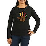 Turkey Hand Women's Long Sleeve Dark T-Shirt