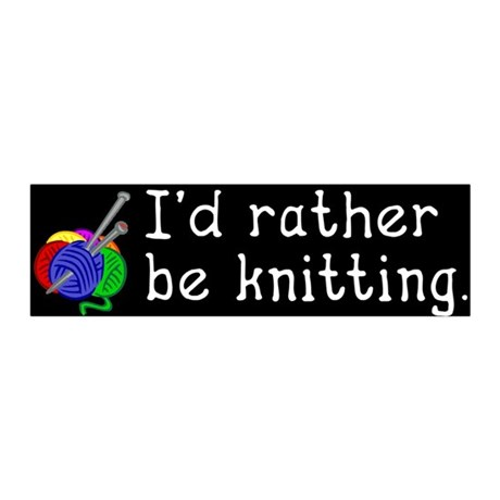 I'd rather be knitting. 20x6 Wall Peel