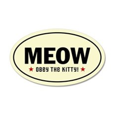 MEOW - Obey the Kitty! 20x12 Oval Wall Peel
