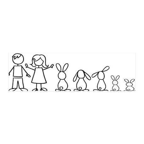 5 bunnies family 36x11 Wall Peel