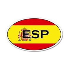 Spanish flag with text 20x12 Oval Wall Peel