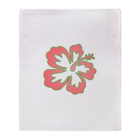 Surf Flowers (Pink and Green) Throw Blanket