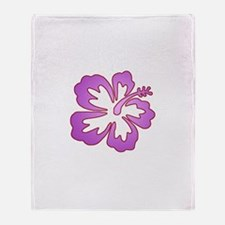 Surf Flowers (Purple with Red Throw Blanket